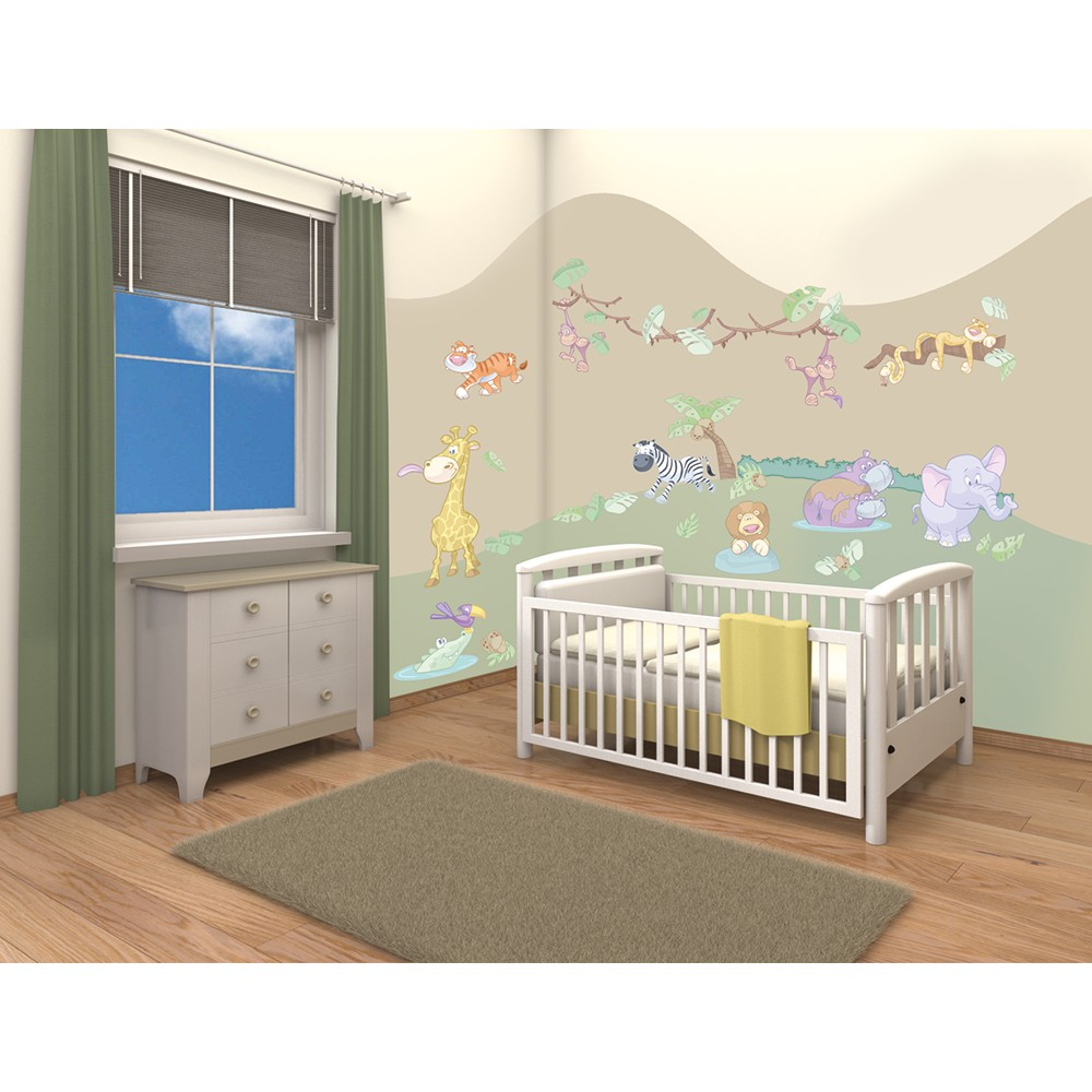 Walltastic baby jungle safari room stickers wall stickers for Baby room decoration uk