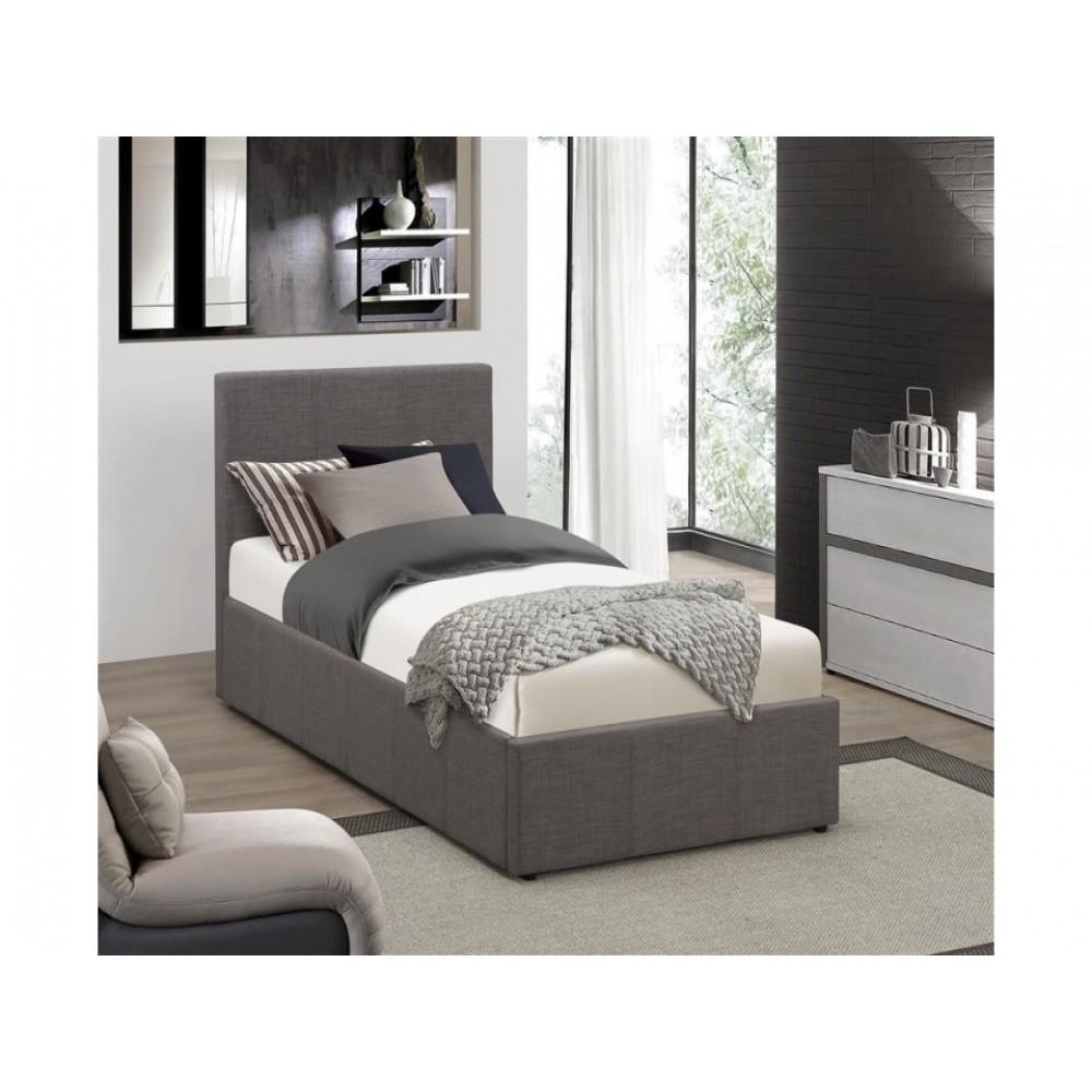 Lyon Ottoman Single Bed Frame Grey Fabric