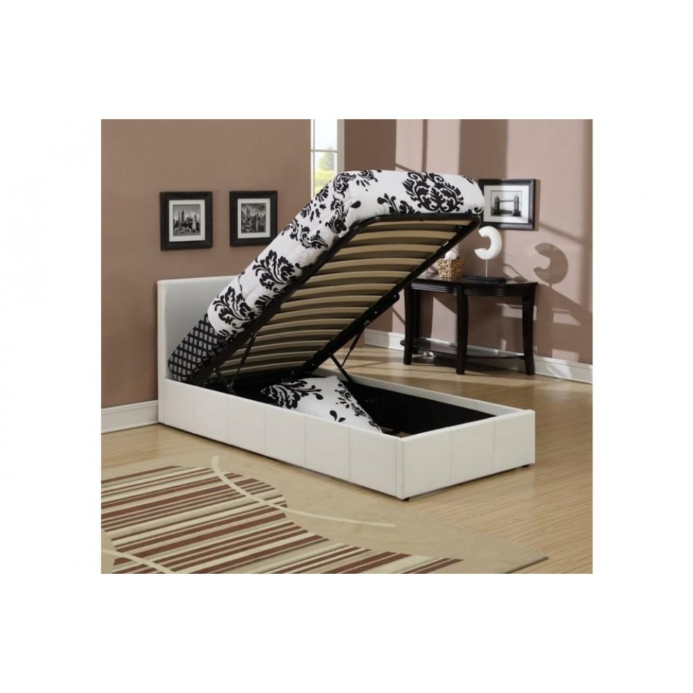 lyon ottoman single bed frame faux leather white. Black Bedroom Furniture Sets. Home Design Ideas
