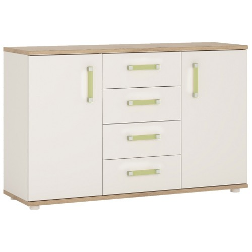 iKids 2 Door 4 Drawer Cabinet with Lemon Coloured Handles