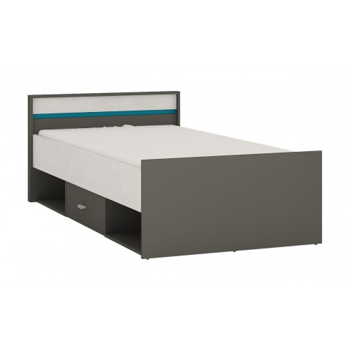 Space Single Bed With Drawer and Open Storage in Grey and Blue