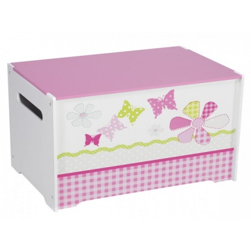 Butterfly Toy Box Pink & White