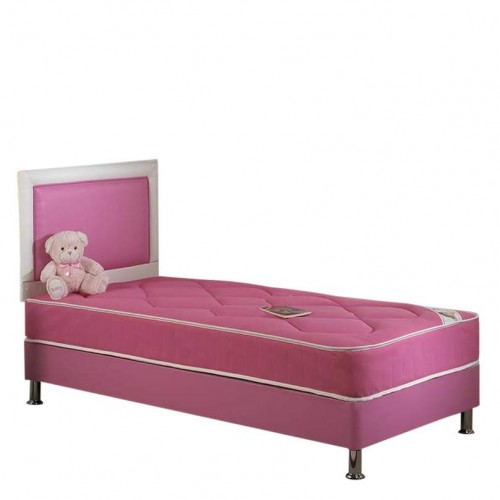 Chelsea Single Divan Bed Set with Mattress in Pink