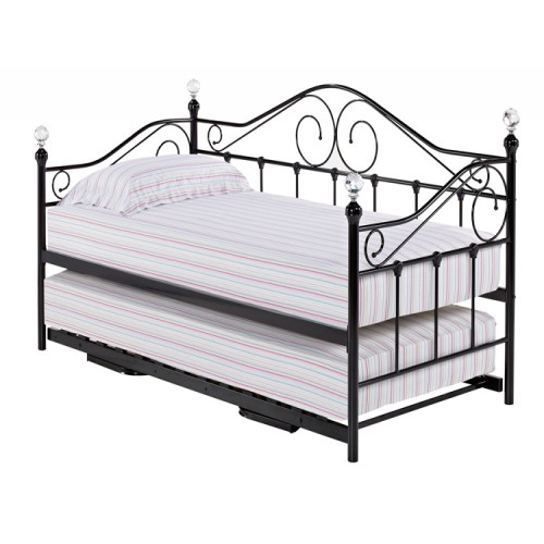 Firenze Black Metal Crystal Daybed with Optional Trundle