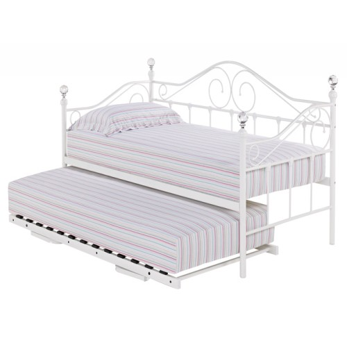 Firenze White Metal Crystal Daybed with Optional Trundle