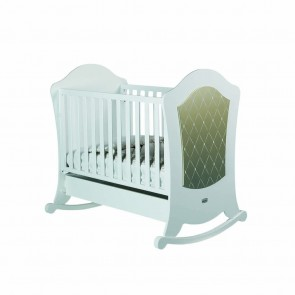 Lapsi Alexa Cot With Reclining Mattress Base - White/Gold