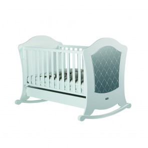 Lapsi Alexa Cot (With Reclining Mattress Base) - White/Silver