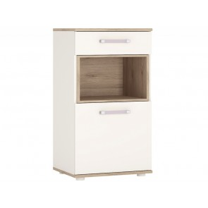 iKids 1 door 1 Drawer Narrow Cabinet with Lilac Coloured Handles