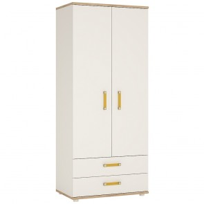 iKids Wardrobe with Orange Handles 2 Door 2 Drawer