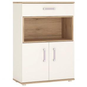 iKids 2 Door 1 Drawer 1 Open Shelf Cupboard with Lilac Coloured Handles