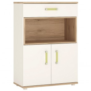 iKids 2 Door 1 Drawer 1 Open Shelf Cupboard with Lemon Coloured Handles