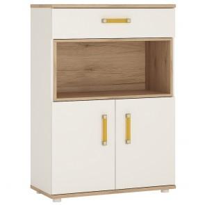 iKids 2 Door 1 Drawer 1 Open Shelf Cupboard with Orange Coloured Handles
