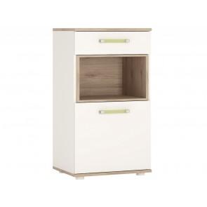 iKids 1 door 1 Drawer Narrow Cabinet with Lemon Coloured Handles
