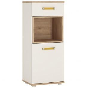 iKids 1 door 1 Drawer Narrow Cabinet with Orange Coloured Handles