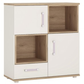 iKids 2 Door 1 Drawer Shelved Cupboard with Lilac Coloured Handles