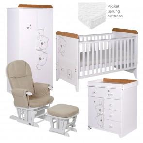 Tutti Bambini Bears 5 Piece Rooms Set - Beech/White