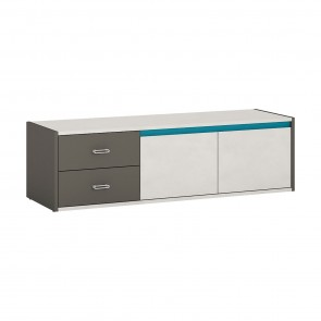 Space 2 Door 2 Drawer TV Cabinet Grey and Blue