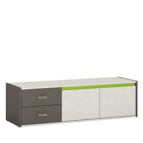 Space 2 Door 2 Drawer TV Cabinet Grey and Green