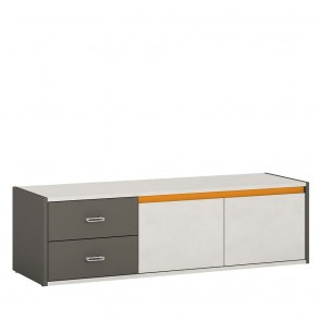 Space 2 Door 2 Drawer TV Cabinet Grey and Orange