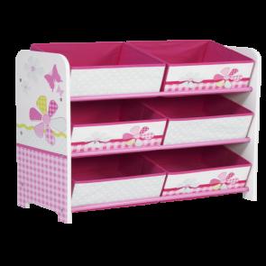 Butterfly Kids Storage Unit Pink & White