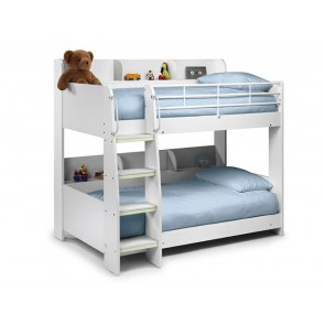 Domino White Bunk Bed with Shelving