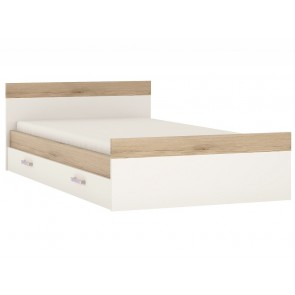 iKids Single Bed with Under Drawer and Lilac Coloured Handles
