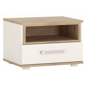 iKids 1 Drawer Bedside Cabinet with Lilac Coloured Handle