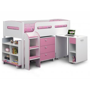 Kiddo Single Cabin Bed Soft Pink & White
