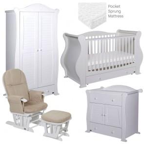 Tutti Bambini Marie 5 Piece Room Set - White