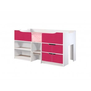 Paddington Single Cabin Bed  White Gloss & Pink