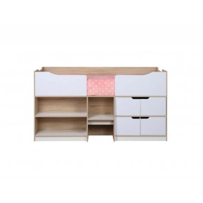 Paddington Single Cabin Bed White Gloss & Oak