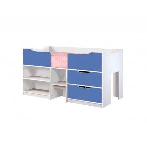 Paddington Single Cabin Bed White Gloss & Blue