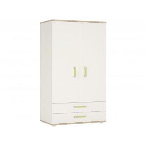 iKids Wardrobe with Lemon Coloured Handles 2 Door 2 Drawer
