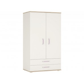 iKids Wardrobe with Lilac Coloured Handles 2 Door 2 Drawer