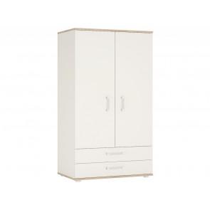iKids Wardrobe with Opalino Coloured Handles 2 Door 2 Drawer