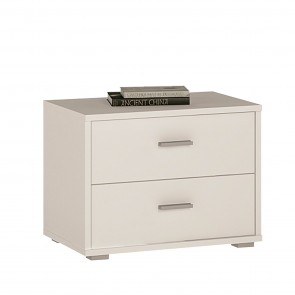 Empire 2 Drawer Bedside Cabinet Pearl White