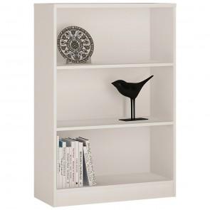 Empire Medium Wide Bookcase in Pearl White