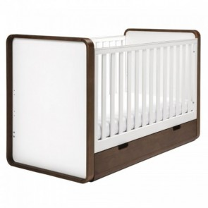 East Coast Cuba Cot Bed with Drawer - White/Walnut
